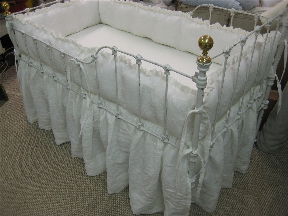 Vintage White Ruffled Crib Bedding-One Inch Ruffled Bumpers-Gathered Crib Skirt -Optional Over Sized Sashes and Ruffled Crib Pillow