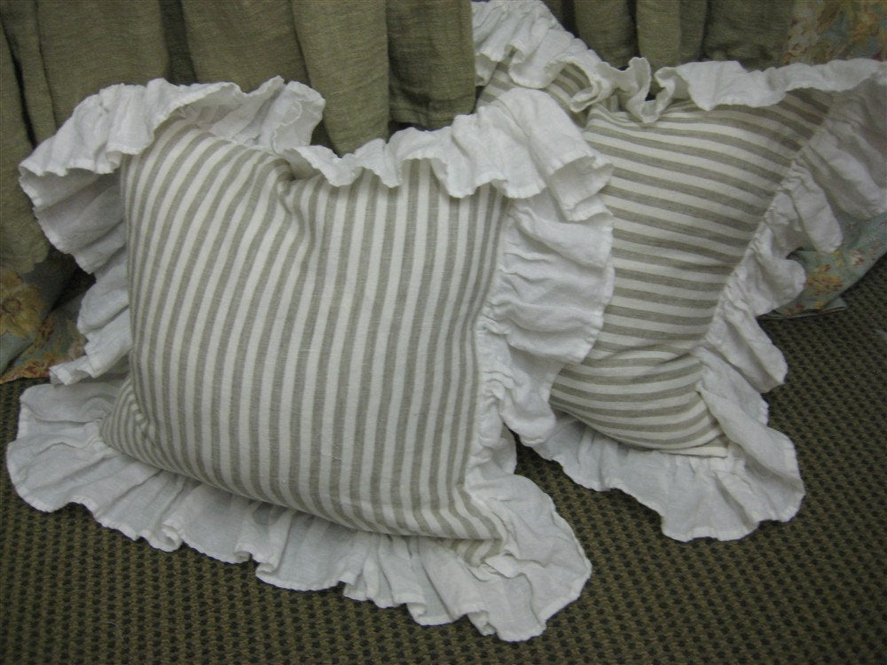 One Pair-Natural Flax and Cream Stripe Washed Linen Pillow Shams-Ruffled Shams-Down/Feather Inserts-20x20