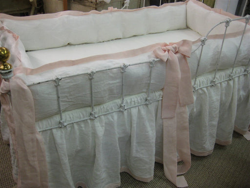 Tailored Crib Bedding in Vintage White and Powder Blush Pink Washed Linen-Tailored Bumpers-Gathered Crib Skirt with Hem Detail