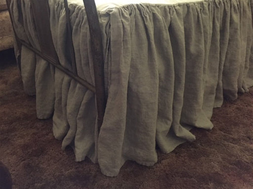 Extra Long Side Drop Twin Bed Skirts-Washed Linen Bedding-Pair of Twin Gathered Bed Skirts-Casual Neutral Linen Bedding-Two Twin Bed Skirts