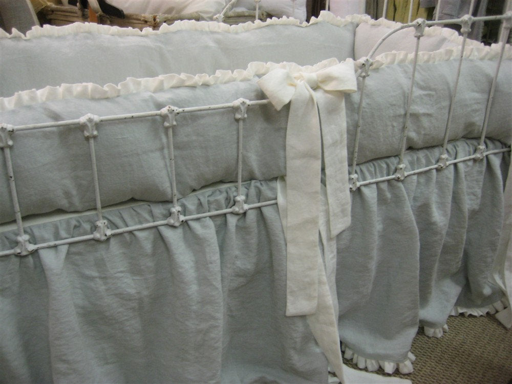 Crib Bedding in Dove and Vintage White Washed Linen-Ruffled Bumpers-Ruffled Crib Skirt-Sash Ties