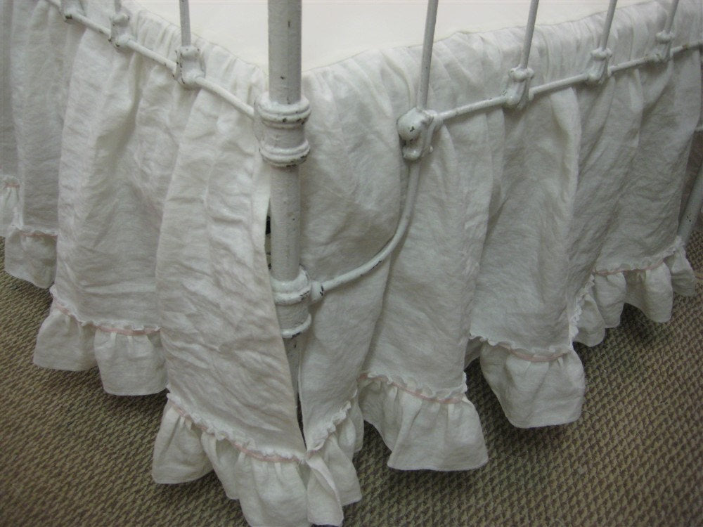 Washed White Linen Double Ruffle Crib Skirt with Velvet Ribbon Trim Detail-Crib Skirt Separate