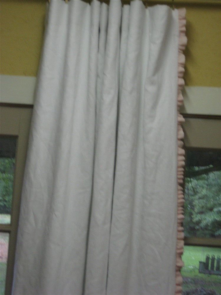 One Pair of Ruffled Linen Drapery Panels-Rod Pocket Header-Blackout Interlining-White Drapery Lining-Ruffled Leading Edges