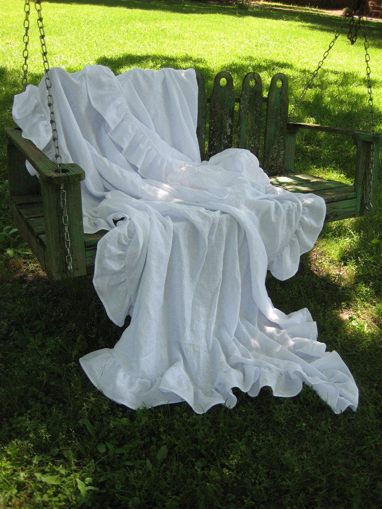 Washed Linen Long Ruffled Bed Scarf-Washed Linen Ruffled Bed Coverlet-Linen Bedding-Ruffled Linen Throw-Chair Throw-Washed Linen Chair Cover