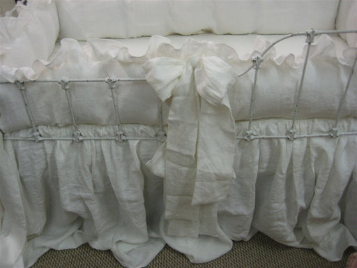 Made to Order-Custom Ruffled Crib Bedding in Vintage White Washed Linen-Ruffled Crib Bumpers with Over Sized Sashes-Ruffled Crib Quilt