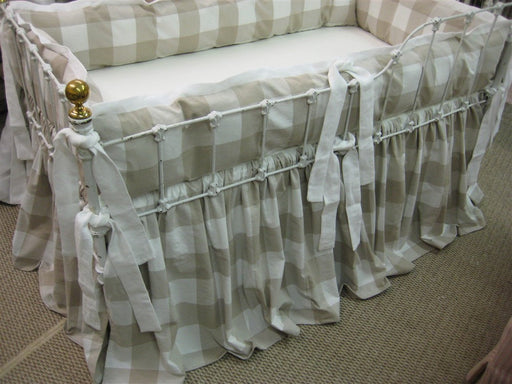 Buffalo Check-Tailored Bumper-Gathered Crib Skirt-Custom Tailored Crib Bedding-Color Depending on Availability-Light Grey or Blue Buffalo