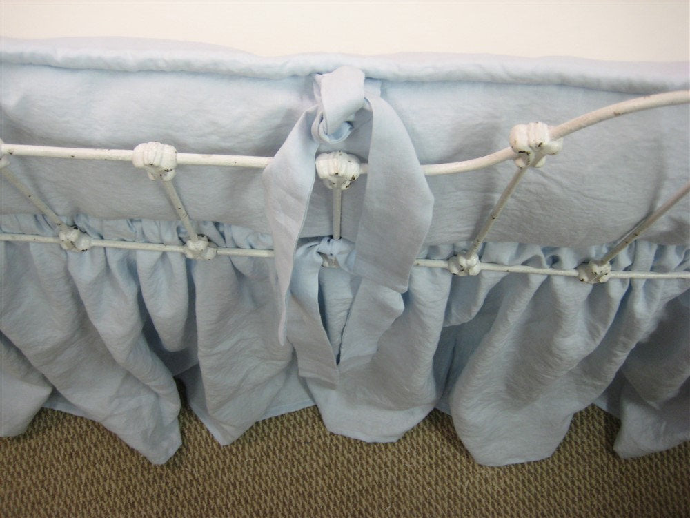 Little Boy Blue Washed Linen Tailored Crib Bedding-Bumpers and Gathered Crib Skirt-Baby Blue Classic Crib Bedding