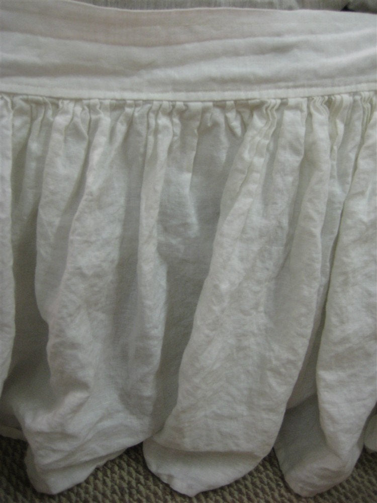 King Gathered Bed Skirt Panel Separates in Vintage White Washed Linen-Casual Linen Bed Skirt-King Bed Skirt