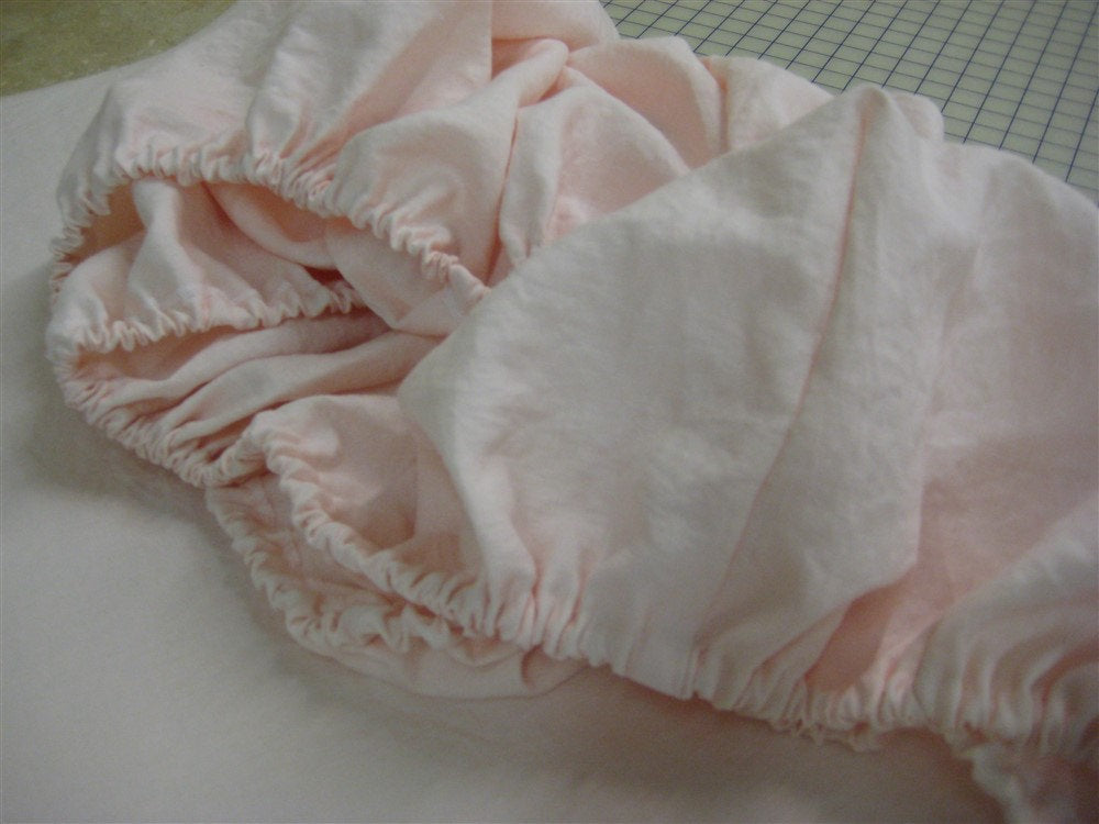 Washed Linen Ruffled Crib Bedding-Soft White and Pink-Bumpers-Layered Crib Skirts-Velvet Ribbon-Fitted Crib Sheet-Fitted Changing Pad Cover