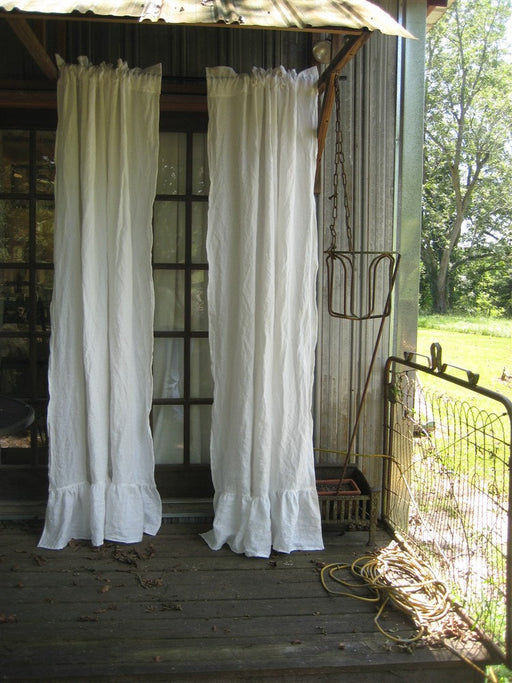 Pair of Ruffled Vintage White Washed Linen Curtains-Rod Pocket Ruffled Curtains-Unlined Curtains-Romantic Ruffled Curtains-Ruffled Panels