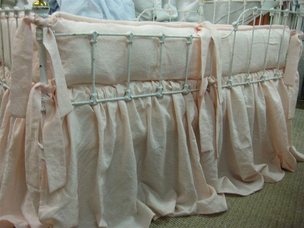 Baby Pink Washed Linen Tailored Crib Bedding-Bumpers and Gathered Crib Skirt-Classic Crib Bedding Made with Washed Linen