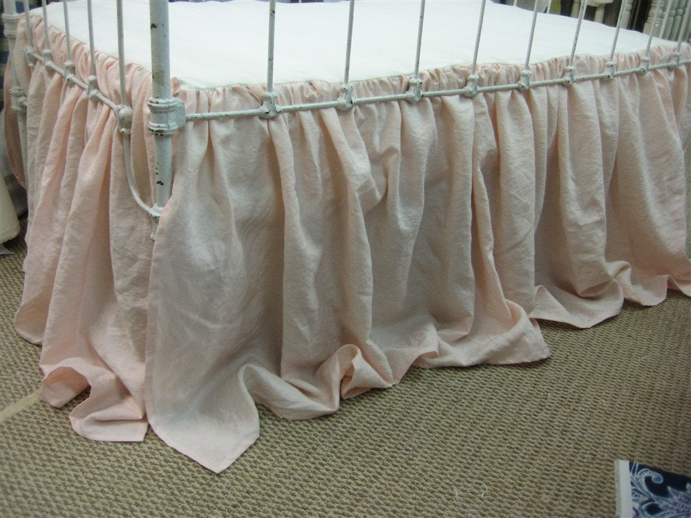 Ballet Pink Washed Linen Tailored Crib Bedding-Bumpers and Gathered Crib Skirt-Baby Pink Classic Crib Bedding