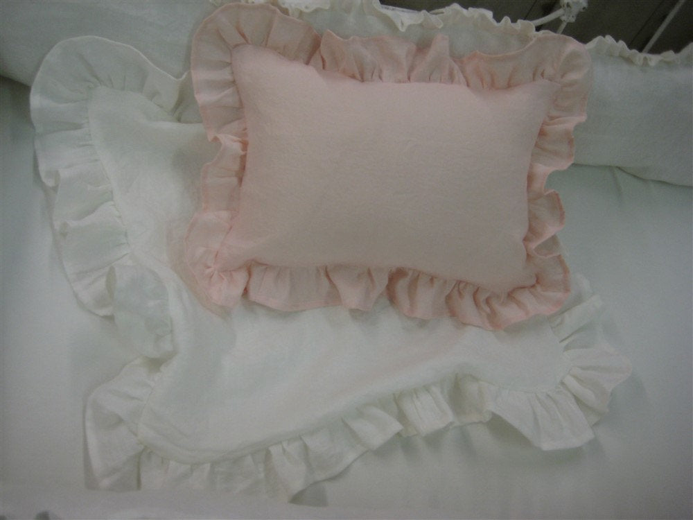 Vintage White Washed Linen NurseryBedding-Ruffled Bumpers-Storybook Crib Skirt-Ruffled Pillows-Extra Wide Pleated Drapery