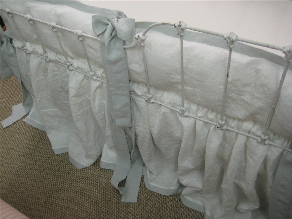 Washed Linen Crib Bedding-Tailored Bumpers-Gathered Crib Skirt-Vintage White with Dove Grey Linen Details