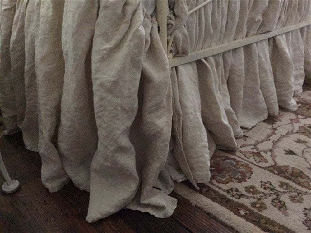 "Gathered Linen Bed Skirt-Casual Washed Linen Bedding-King Bed Skirt in Washed Antique White Linen-18"" Drop Length-Other Sizes Available"