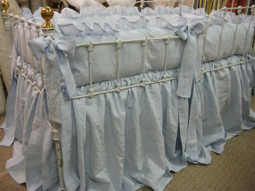 Ruffled Washed Linen Crib Bedding in Little Boy Blue-Storybook Crib Skirt-Ruffled Bumpers-Sash Ties-Classic Ruffled Linen Nursery Bedding
