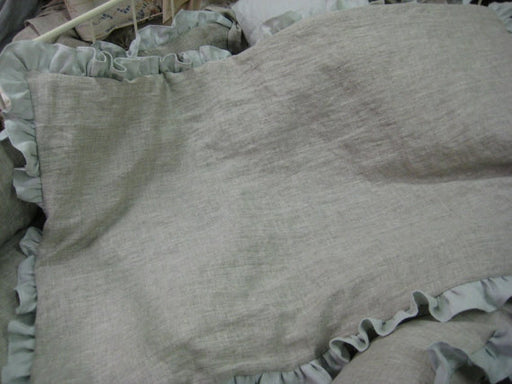 Ruffled Crib Blanket in Washed Linen---Your Linen Color Choice---Crib Size Machine Quilted Baby Blanket