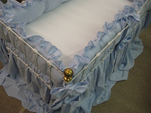 "Ruffled Crib Bedding in Baby Blue Washed Linen-2"" Ruffled Bumpers-Sash Ties-Storybook Crib Skirt"