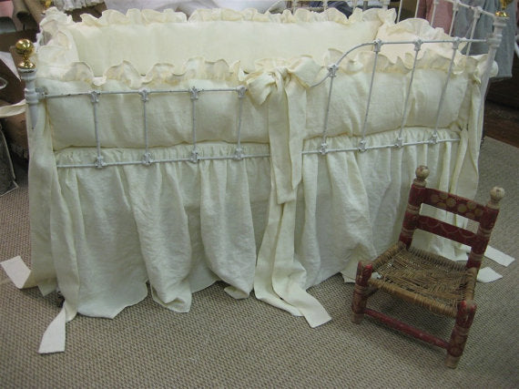 "2"" Ruffled Bumpers and Storybook Style Crib Skirt in Washed Cream Linen"