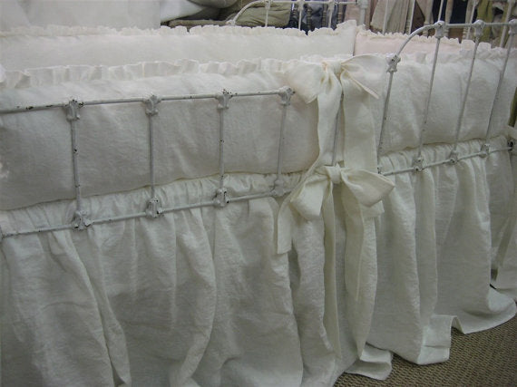 "Vintage White Crib Bedding - White Medium Weight Washed Linen Nursery Bedding-1"" Ruffled Bumpers/Gathered Cribskirt"