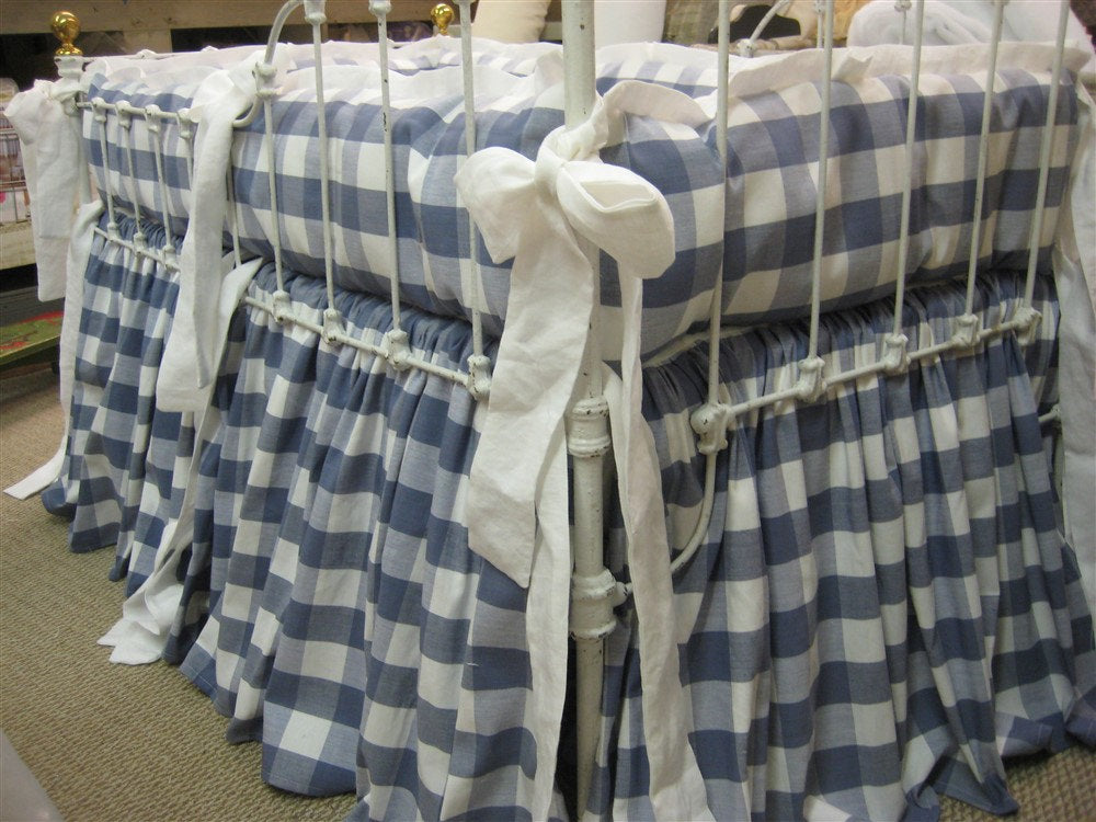 Blue Buffalo Check-Tailored Bumper-Gathered CribSkirt-Fabric Furnished by Client-Custom Tailored Crib Bedding Sewing Service