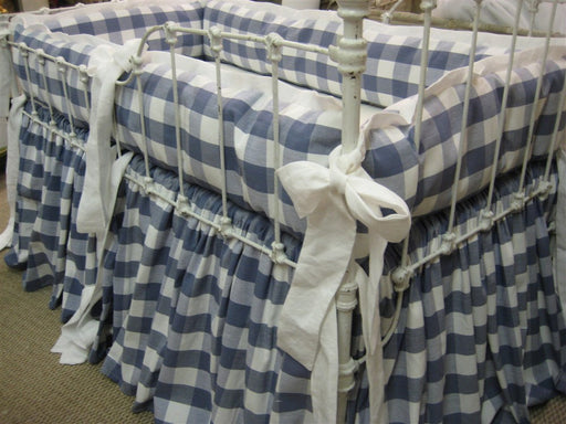 Buffalo Check-Tailored Bumper-Gathered Crib Skirt-Cotton Duck Buffalo Check Print-Color Depending on Availability-Custom Crib Bedding
