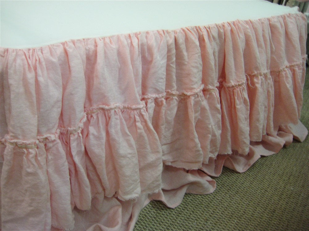 Cameo Washed Linen Custom Shabby Style Nursery Bedding-Torn Ruffle Crib Skirt