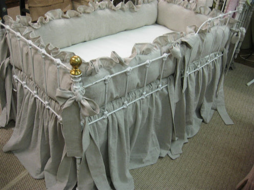 Ruffled Crib Bedding in Washed Linen-Lightweight Oatmeal Nursery Bedding-Two Inch Ruffled Bumpers-Storybook Crib Skirt
