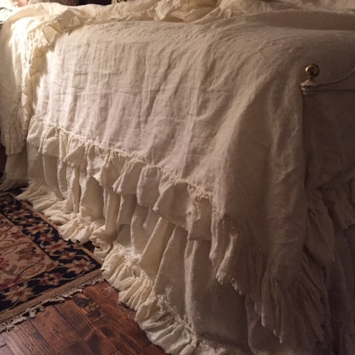 Romantic Linen Bedding--Washed Linen Bedding Set----Twin-Full-Queen-King---Long Ruffled Duvet and Torn Ruffle Bed Skirt-Velvet Ribbon Trim
