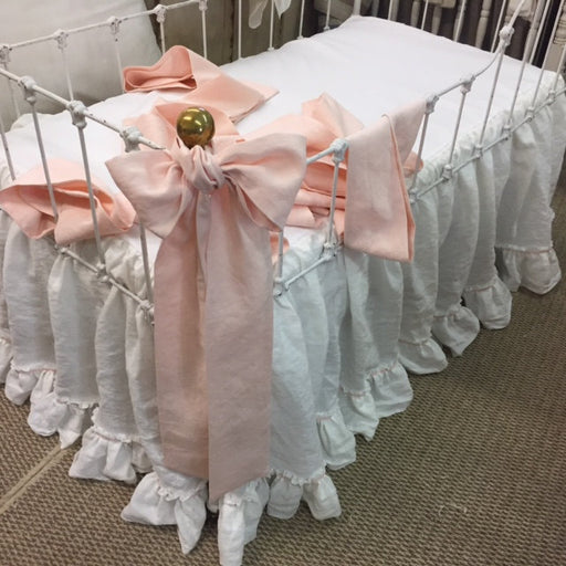 Bumperless Baby Girl Bedding--Washed Linen Nursery---Vintage White Double Ruffle Crib Skirt-Pale Pink Velvet Ribbon Detail-6 Crib Sashes