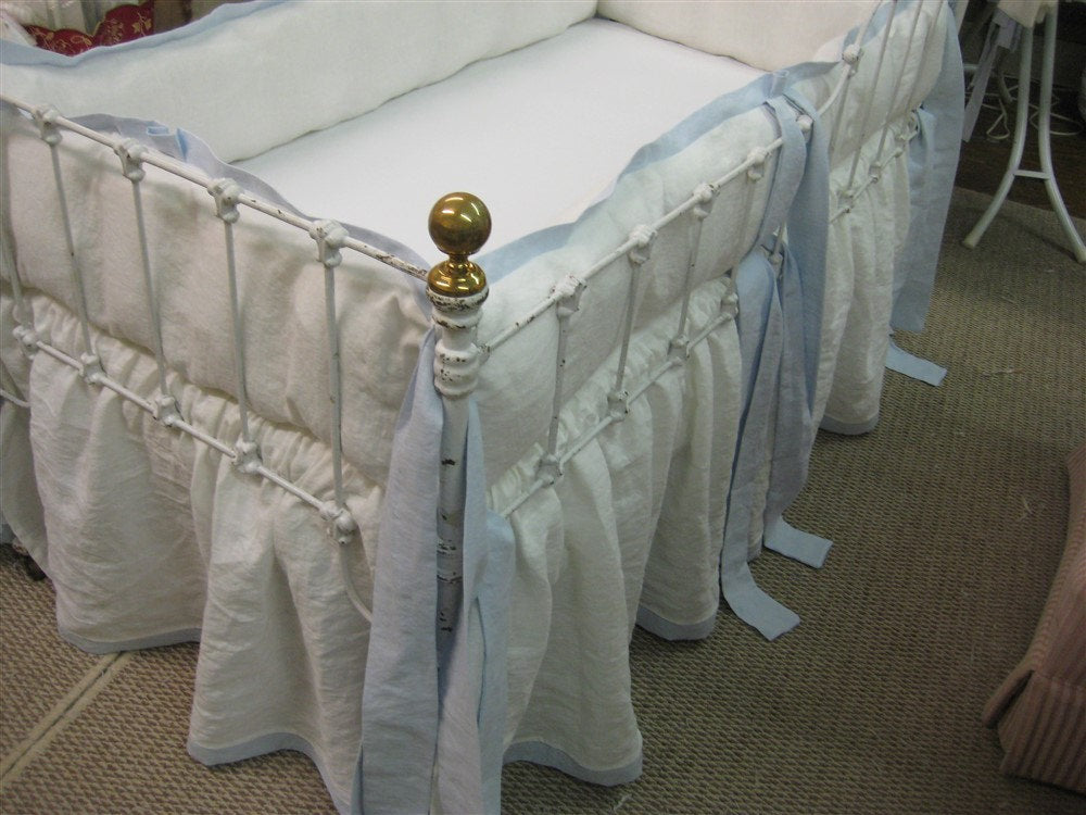 Washed Linen Crib Bedding-Window Treatments Optional-Vintage White and Little Boy Blue Linen-Blackout Drapery