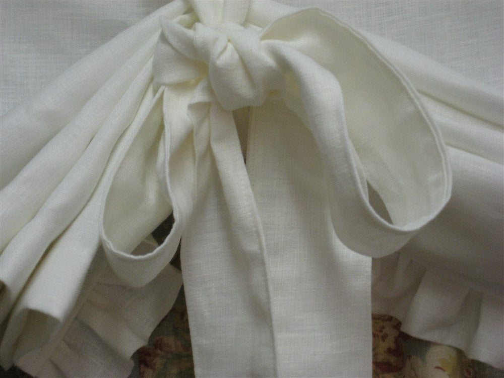 Custom Tie Up Functional Window Shade with Ruffled Hem--Relaxed Rod Pocket Style Window Shade with Velvet Ribbon Trim