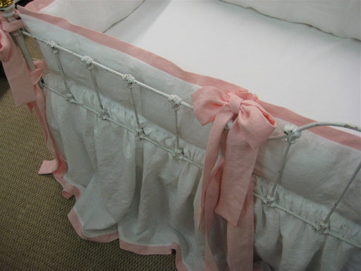 Crib Bedding-Tailored Bumpers-Storybook Crib Skirt-Bright White and Cameo Pink Washed Linen-Classic Nursery Linens
