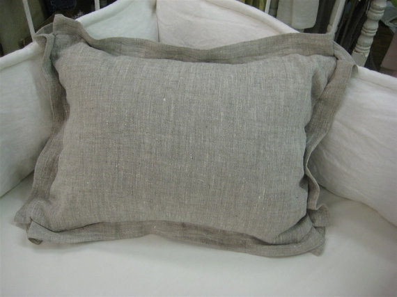 Crib Pillow with Removable Insert--Tailored Design in Your Color Choice Mix or Match--- Washed Linen