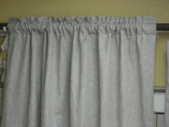 2 Wide Window Linen Rod Pocket Curtain Panels-Unlined 1.5 Width Curtain Panels-Classic Washed or Unwashed  Linen Panels for Wider Windows