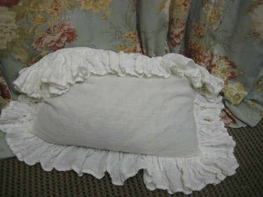 Single Long Ruffled Pillow Sham---Washed Linen Ruffled Sham--Body Pillow Sham-Standard-Queen-King-Crib-Made to Order Bed Linens
