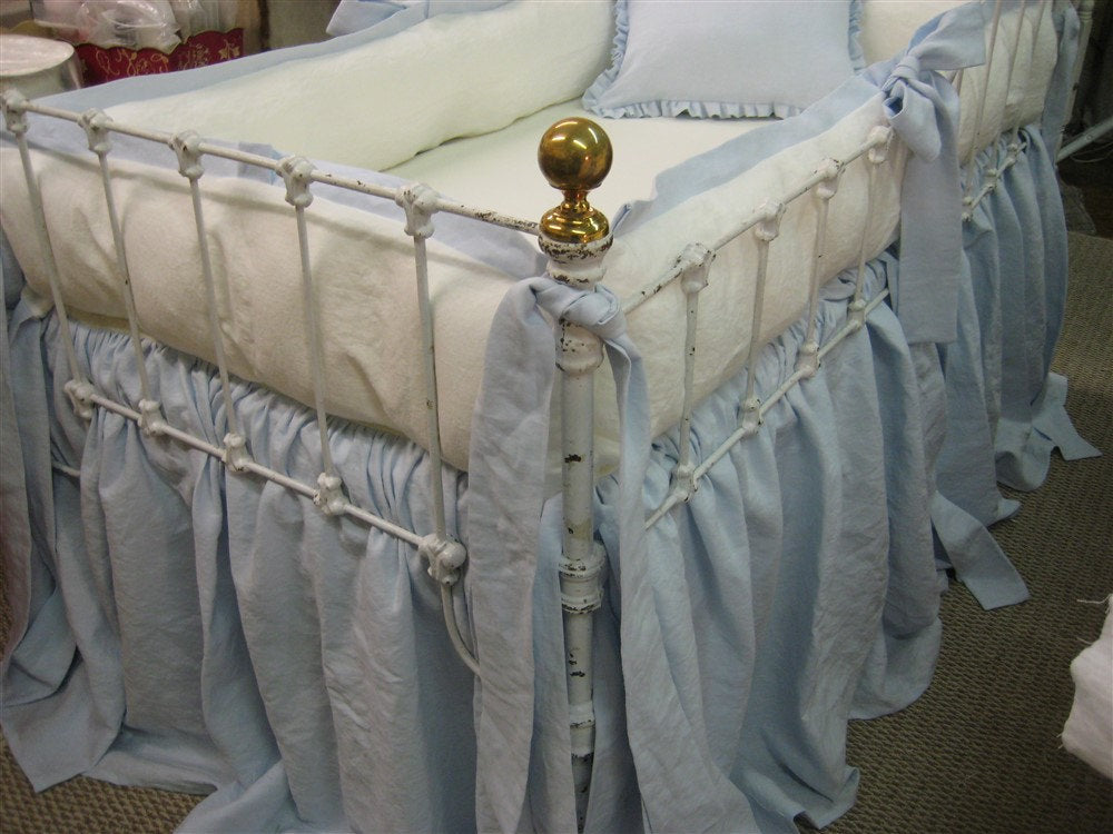 Tailored Crib Bumpers with Sash Ties-Baby Blue and Vintage White Linen
