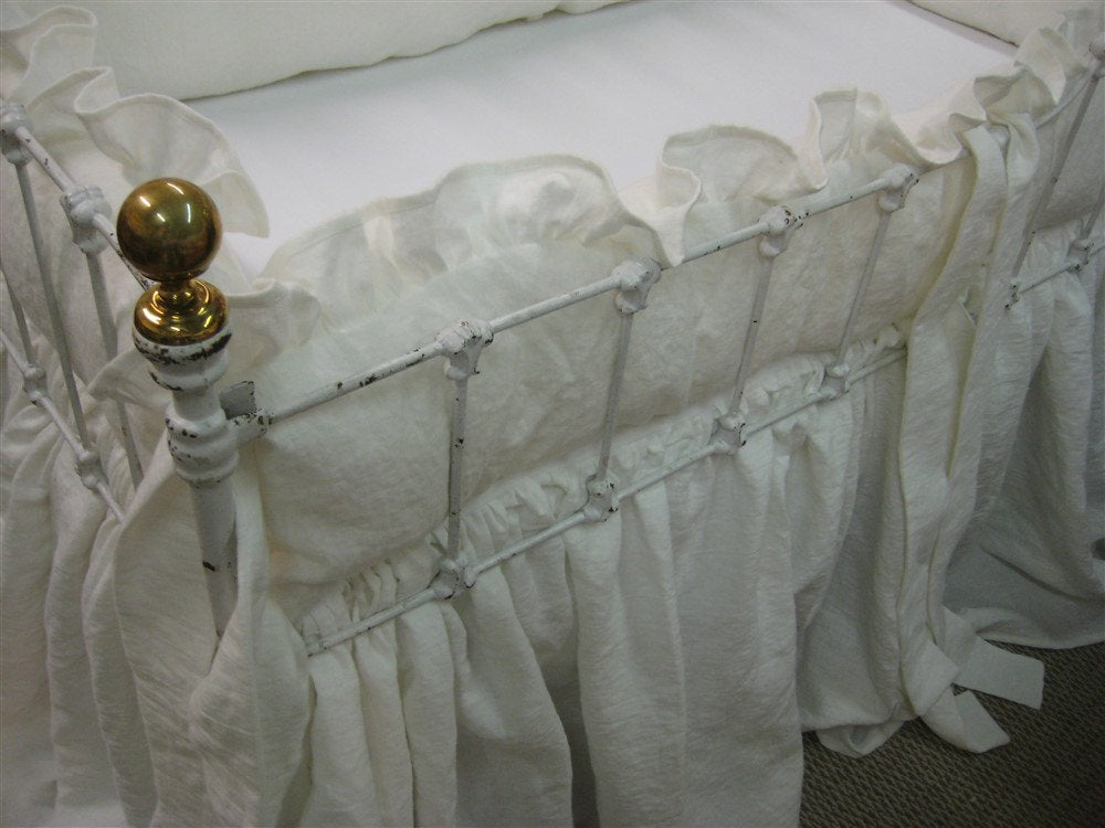 Ruffled Crib Bedding with Sash Ties - Extra Gathered Storybook Crib Skirt-Vintage White Heavy Weight Washed Linen-Fairy Tale Ruffled Linens