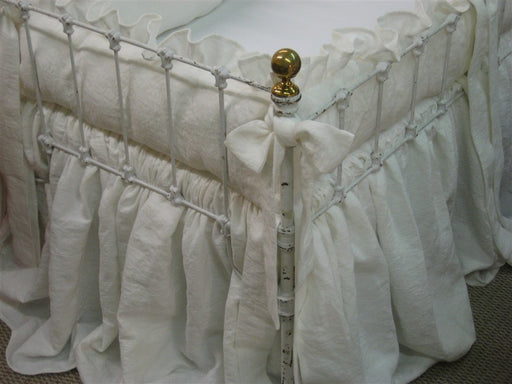 Nursery Bedding in Heavy Weight Washed Linen-Ruffled Crib Bedding-Sash Ties-Storybook Crib Skirt-Vintage White Heavy Weight Washed Linen