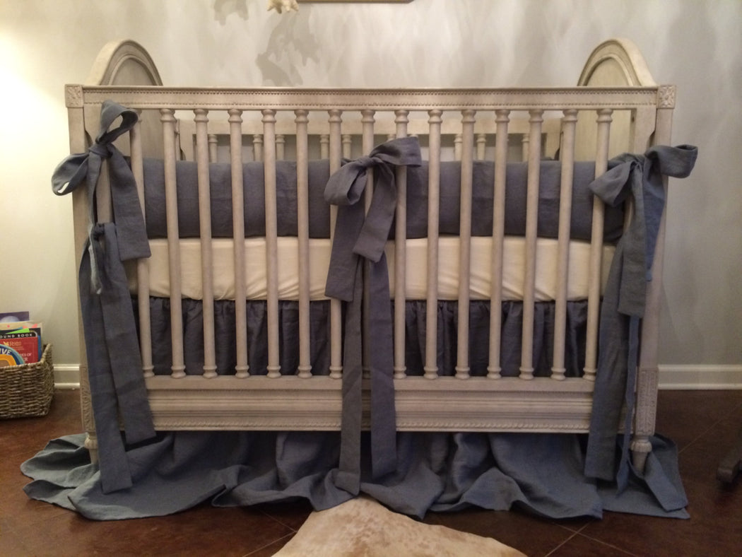 Farmhouse Style Washed Linen Crib Bedding-Grey Washed Linen-Simple Bumpers with Sash Ties-Storybook Crib Skirt