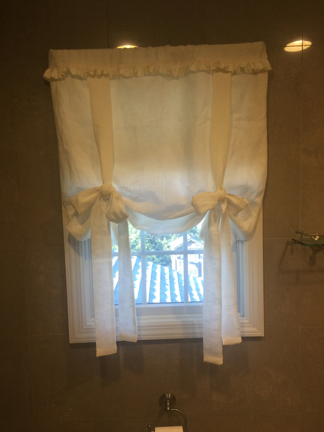 Custom Tie Up Functional Window Shade with Ruffled Hem