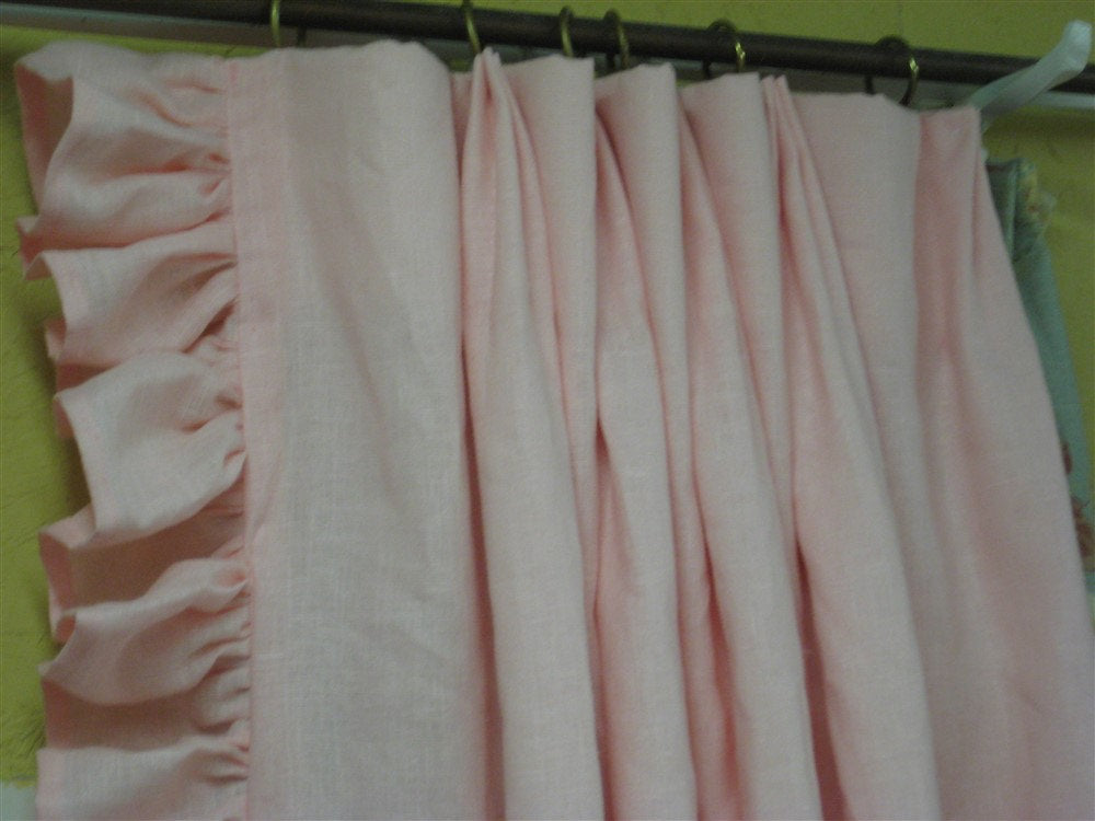 "MADE TO ORDER-3"" Hemmed Ruffle Linen Drapery Panels-One Pair- Pleated and Lined-Shipped Ready to Hang-Ruffled Linen Drapery Panels"