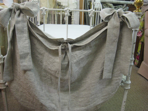 Tailored Crib Accessory Bag-Oatmeal Washed Linen Diaper Nursery Diaper Bag-Crib Toy Bag-Crib Diaper Bag-Diaper Stacker