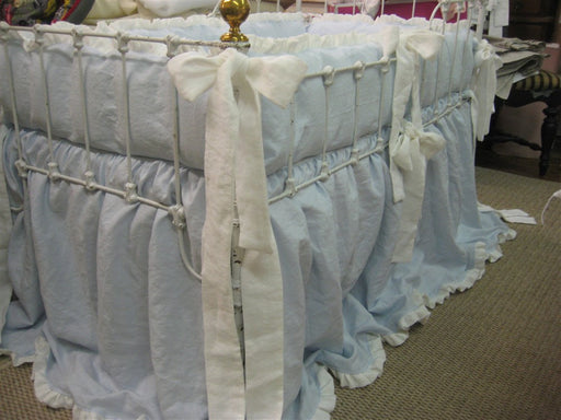 Twins Crib Bedding Brother and Sister-Ruffled Crib Bumpers-Ruffled Crib Skirts-Sash Ties-Blue and Pink Twins Baby Bedding-CLASSIC NURSERY