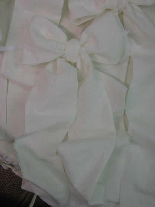 Bright White Washed Linen Custom Crib Linens-Storybook Crib Skirt-Fitted Crib Sheet-3 OverSized Crib Bows----Nursery Separates