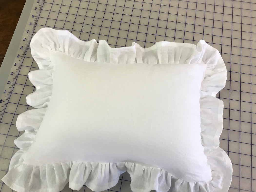 Ruffled Crib Pillow Washed Linen