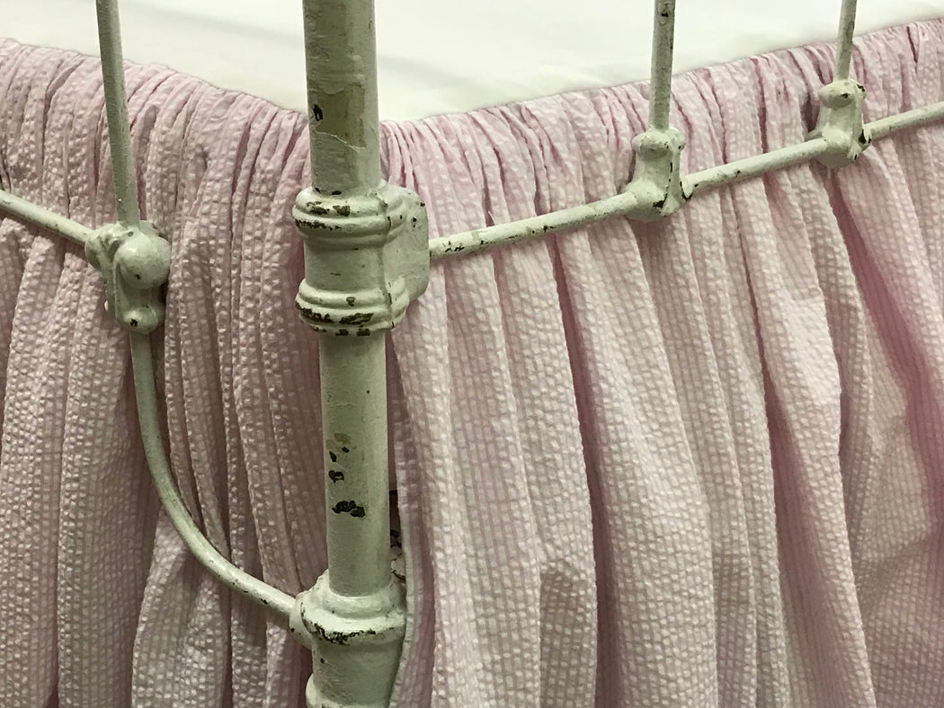 Gathered Crib Skirt-Pink Stripe