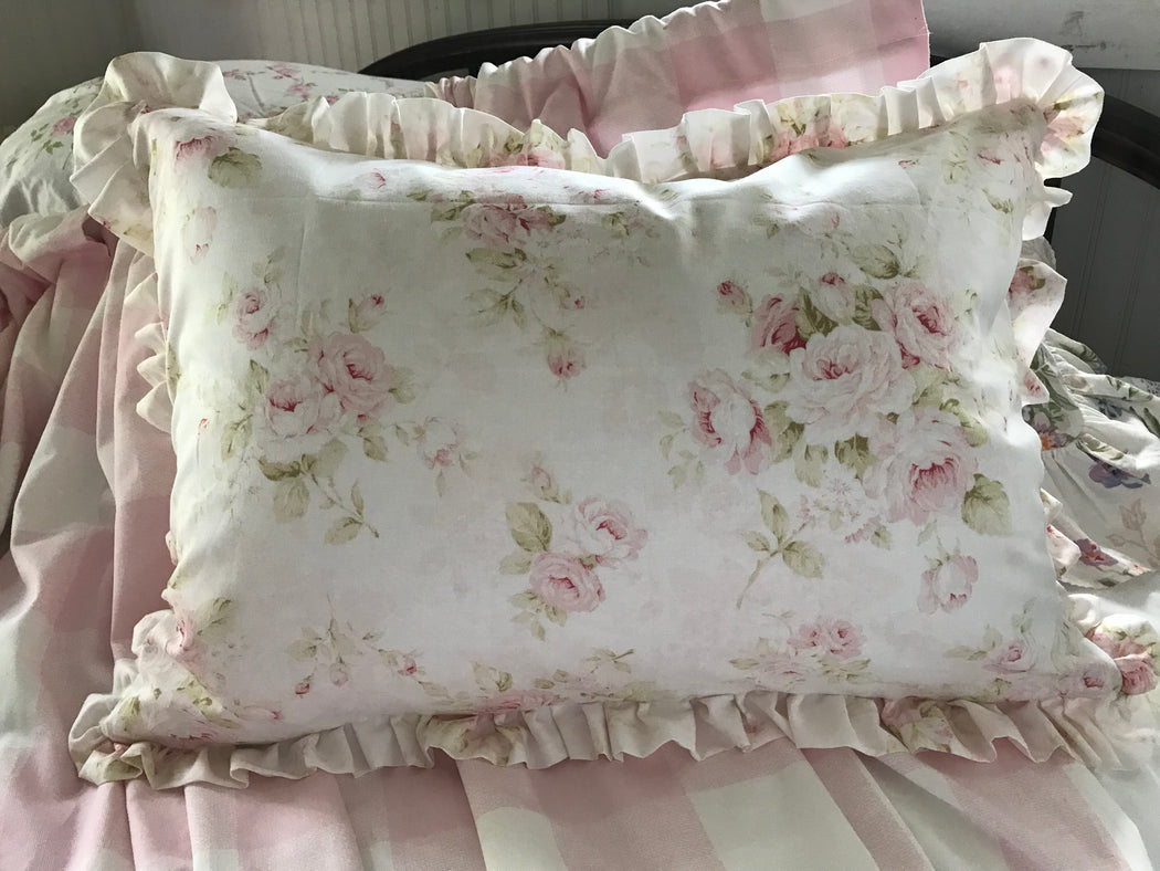 Soft Pink Floral Decorative Pillow