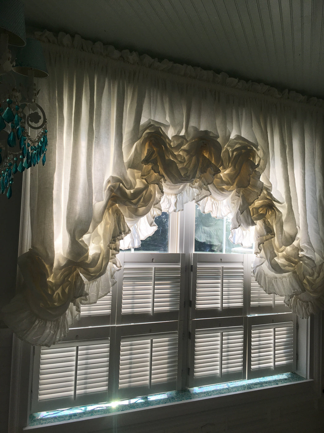 Balloon Shade for Large Window-Ruffled Linen Stationary Balloon Shade