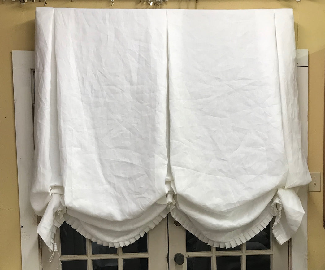 Double Swag White Linen London Shade for Larger Window-Relaxed Shade